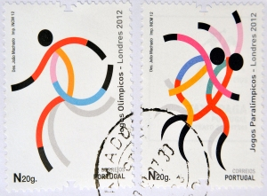 stamp, portugal, paralympic, disabled athletes, runner, disabled